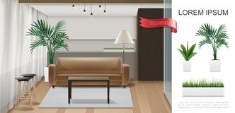 Calibre intérieur à la maison réaliste illustration stock