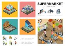 Calibre isométrique d'Infographic de supermarché illustration libre de droits