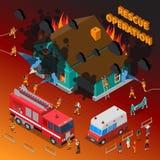 Calibre isométrique de pompier illustration stock