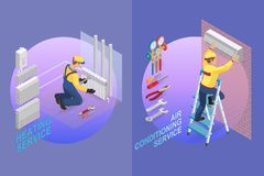 Calibre isométrique de réparation à la maison Constructeur avec des outils image stock