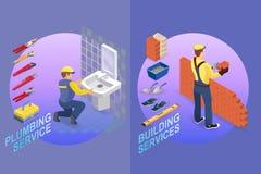 Calibre isométrique de réparation à la maison Constructeur avec des outils illustration libre de droits