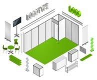 Calibre isométrique des locations 3D de cabine d'exposition Photographie stock