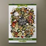 Calibre italien d'affiche de nourriture de griffonnages tirés par la main de bande dessinée Images stock