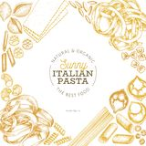 Calibre italien de conception de pâtes Illustration tir?e par la main de nourriture de vecteur Style grav? Fond différent de sort illustration de vecteur