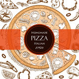 Calibre italien de style de dessin de couverture de nourriture de pizza Photographie stock