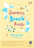 Calibre jaune d'affiche de partie de plage d'été Photographie stock libre de droits