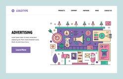 Calibre linéaire de conception d'art de site Web de vecteur La publicité et marketing en ligne de Digital Concepts de page d'atte illustration de vecteur