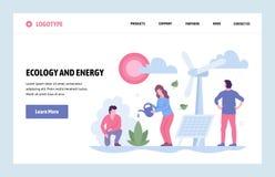 Calibre linéaire de conception d'art de site Web de vecteur Source d'énergie alternative Écologie et économies d'énergie de page  illustration libre de droits