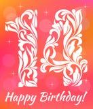 Calibre lumineux d'invitation de carte de voeux Célébrant 14 ans d'anniversaire Fonte décorative illustration de vecteur