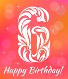 Calibre lumineux d'invitation de carte de voeux Célébrant 6 ans d'anniversaire Fonte décorative illustration libre de droits