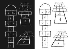 Calibre lumineux de jeu de marelle Illustration de vecteur Noir sur le blanc, blanc sur le noir illustration libre de droits