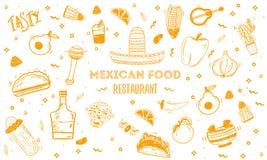 Calibre mexicain de menu de croquis de nourriture Dirigez le vintageillustration pour, affiche sur le fond blanc avec le texte d' Images stock