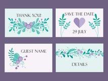 Calibre mignon de carte de mariage avec les éléments et les branches floraux tirés par la main Conception simple élégante Illustr Photo libre de droits