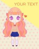 Calibre mignon de fille d'école d'anime Image stock
