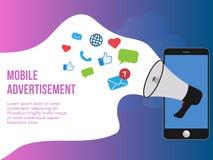 Calibre mobile de conception d'illustration de concept de publicité illustration de vecteur