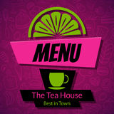 Calibre moderne de design de carte de menu de Chambre de thé Photo stock