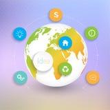 Calibre moderne de globes du résumé 3D infographic Photos libres de droits