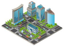 Calibre moderne isométrique de paysage urbain illustration stock