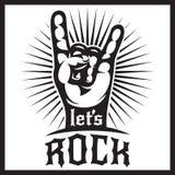 Calibre monochrome de vecteur pour l'affiche de conception au thème de musique rock avec la main et le lettrage photos stock