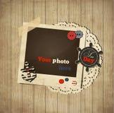 Calibre nautique de chute de vintage avec le cadre de photo Photographie stock