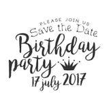 Calibre noir et blanc de design de carte d'invitation de fête d'anniversaire avec le texte calligraphique Photo stock