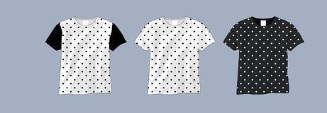 Calibre noir et blanc de T-shirt de point de polka illustration stock
