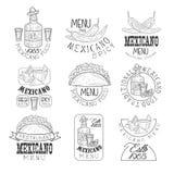 Calibre noir et blanc tiré par la main de conception de signe de restaurant mexicain traditionnel national de cuisine réglé avec  illustration de vecteur