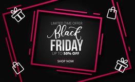 Calibre noir moderne de conception de bannière de vente de vendredi Illusatr de vecteur illustration stock
