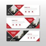 Calibre noir rouge de bannière d'entreprise constituée en société d'abrégé sur place de triangle, calibre horizontal de dispositi Photo libre de droits
