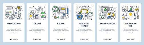 Calibre onboarding d'écrans d'art linéaire de site Web de vecteur Icônes de soins de santé et de médecine Drogues, kit de premier illustration stock