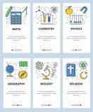 Calibre onboarding d'écrans d'art linéaire de site Web de vecteur Matières d'enseignement, maths, physique, biologie, chemisty, b illustration stock