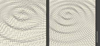 Calibre ondulé de fond Illustration de la science abstraite ou de technologie avec la particule surface de la grille 3D illustration de vecteur