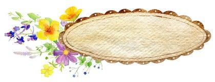 Calibre peint à la main de clipart de maquette d'aquarelle des fleurs sauvages illustration libre de droits