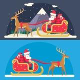 Calibre plat d'icône de conception de fond de nuit de Noël de nouvelle année de paysage de neige de Santa Claus Sleigh Reindeer G Photographie stock