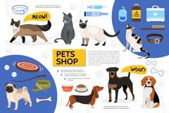 Calibre plat d'Infographic de magasin de bêtes Photographie stock libre de droits