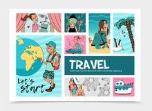Calibre plat d'Infographic de voyage d'été Photos libres de droits