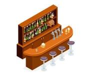 Calibre plat de conception de bar de barre de restaurant de café de symbole d'alcool de bière de Chambre de concept isométrique i Photos stock