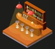 Calibre plat de conception de bar de barre de restaurant de café de symbole d'alcool de bière de Chambre de l'icône 3d de concept Image libre de droits