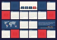 Calibre plat de conception de vecteur du calendrier 2019 pour la compagnie de voyage illustration de vecteur