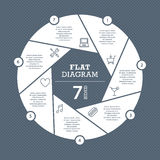 Calibre plat de diagramme de volet pour votre présentation d'affaires avec des secteurs et des icônes des textes illustration stock