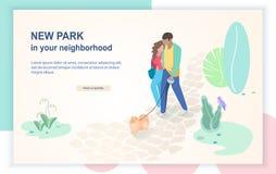 Calibre plat de page Web de vecteur de nouveau parc confortable illustration libre de droits