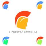 Calibre plat minuscule de conception de logo d'armée spartiate Icône colorée de media Idée de concept de Logotype de vision Illustration de Vecteur
