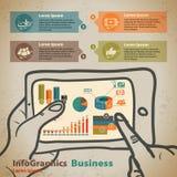 Calibre pour infographic avec des mains avec le comprimé dans le style de vintage illustration stock