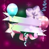 Calibre pour l'invitation, carte d'anniversaire carte postale avec le ruban, GA Photos stock