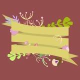 Calibre pour l'invitation, carte postale avec des rubans et décoratif Photo stock