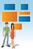 Calibre pour la brochure de publicité avec de beaux jeunes couples Photographie stock