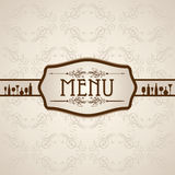 Calibre pour la carte de menu avec des couverts Photographie stock