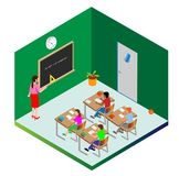 Calibre pour la conception Les écoliers et un professeur sont occupés à l'étude Objets de vecteur illustration libre de droits