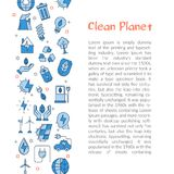 Calibre pour la planète propre avec le texte et les icônes Illustration de Vecteur