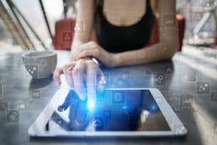 Calibre pour le texte, fond d'écran virtuel Affaires, concept de technologie Photographie stock libre de droits
